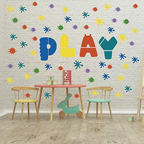 GULIGULI Paint Splatter Wall Decal-Ink Splotch Vinyl Stickers for Toddler Boys Girls Kids Room Bedroom Playroom Decor (Kids Playroom Wall Decals)