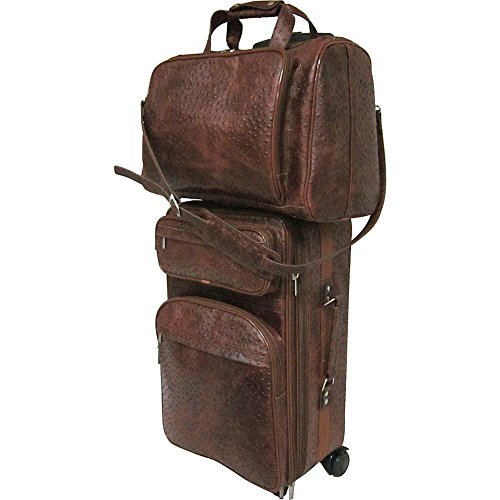 AmeriLeather Leather Two Piece Set Traveler (Brown Ostrich Print)
