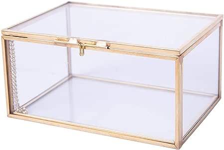Estilo vintage Latón Metal y vidrio transparente Caja de la sombra ...