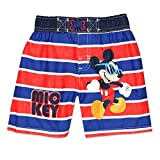Mickey Mouse Boys Swim Trunks Swimwear (3T, Red/Blue)