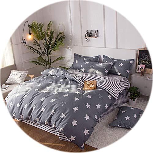 Memoirs- Black Rose Bedding Set Rose Heart Duvet Cover 3 or 4pcs/Set Summer Bed Set White Bedclothes Flora Flat Sheet Daisy Kid bedlinen,Star ()