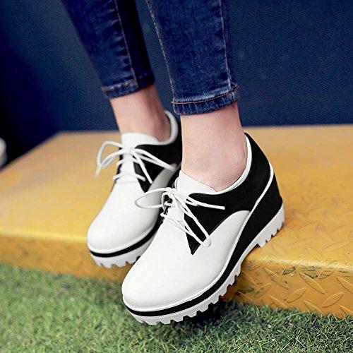 Latasa Kvinna Mode Tvåfärgade Spets-up Plattform Med Hög Kilklack Oxfords Skor Vit Tå