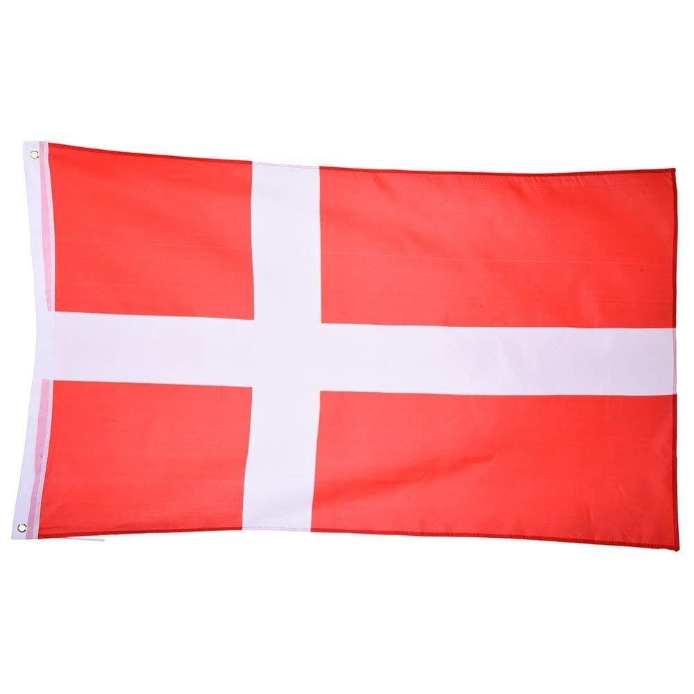 Grande bandiera nazionale danese con anelli, 90 x 150 cm, stendardo da appendere per la Coppa del Mondo, il Campionato Europeo, eventi sportivi TRIXES