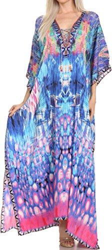 Sakkas SS1682 KF2503646LAT - LongKaftan Georgettina Ligthweight Printed Long Caftan Dress/Cover Up - Turquoise/Pink -OS Bodice Border Print Dress