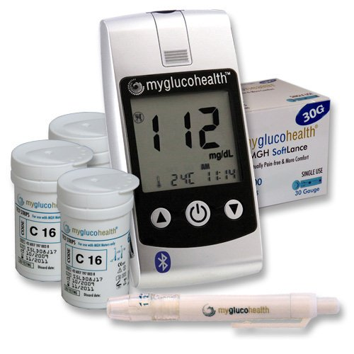 MyGlucoHealth Blood Glucose Starter Kit with Bluetooth Technology (MGH-BT1SK)