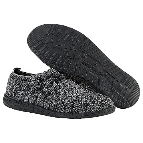 Dude Shoes Hey Men's Wally Knit Black/White Black