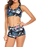 Goldenfox Sporty Swimsuits Women's Tree Printed Bikini Set Two Piece Swimsuit Swimwear Bathing Suit (Black, Medium)