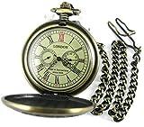 VIGOROSO Men's Mechanical Hand-winding Beautiful Wild Deer Painting Pendant Chain Watch in Gift Box