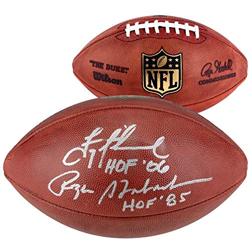 (Troy Aikman Roger Staubach Dallas Cowboys FAN Authentic Dual Autographed Signed Duke Pro Football With HOF Inscriptions - Certified Signature)