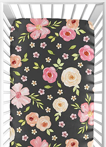 Sweet Jojo Designs Black and Blush Pink Baby or Toddler Fitted Crib Sheet for Watercolor Floral Collection - Rose Flower