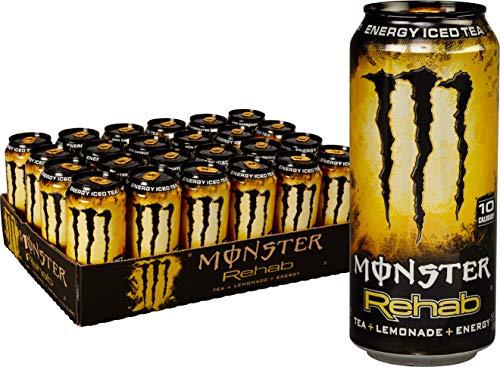 Monster Rehab Energy Drink, Tea + Lemonade, 15.5 Ounce (Pack of 24)