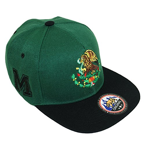 Mexico Golden Eagle Embroidery Snpaback Hat Adjustable Mexican Flag Baseball Cap (Green/Black) (Flag Embroidery Eagle)