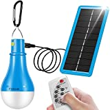 Flyhoom Solar Light Bulb Dimmable - 220LM Portable Camping Bulb Outdoor Rechargeable lamp with Remote Controller Timing for Outage Tent Hiking Fishing Hurricane(2018 New Design 1800mA),Blue FNSL3