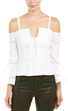 BCBGMAXAZRIA Womens Off-The-Shoulder Top, S, White