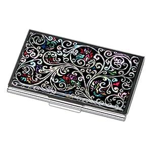 Antique Alive Mother of Pearl Arabesque Design Black Business Credit Case Holder Metal Stainless Steel Engraved Slim Purse Pocket Cash Money Wallet (B124)