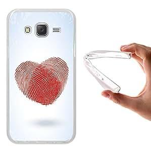 WoowCase Funda Samsung Galaxy J5 2015, [Samsung Galaxy J5 2015 ] Funda Silicona Gel Flexible Corazón Huella Dactilar, Carcasa Case TPU Silicona - Transparente