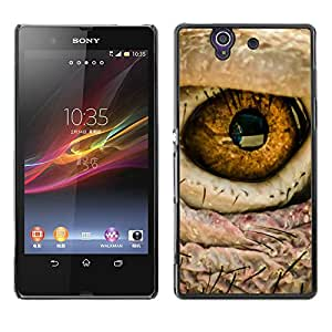 Qstar Arte & diseño plástico duro Fundas Cover Cubre Hard Case Cover para Sony Xperia Z / L36H / C6602 / C6603 / C6606 / C6616 ( Eye Bird Intense Macro Photo Fire)