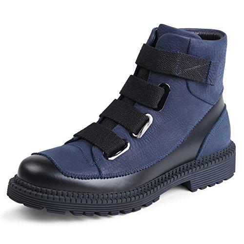 High winter winter boots, men's boots, Martin boots, men's English retro boots, boots, boots,44 blue B by ZRLsly