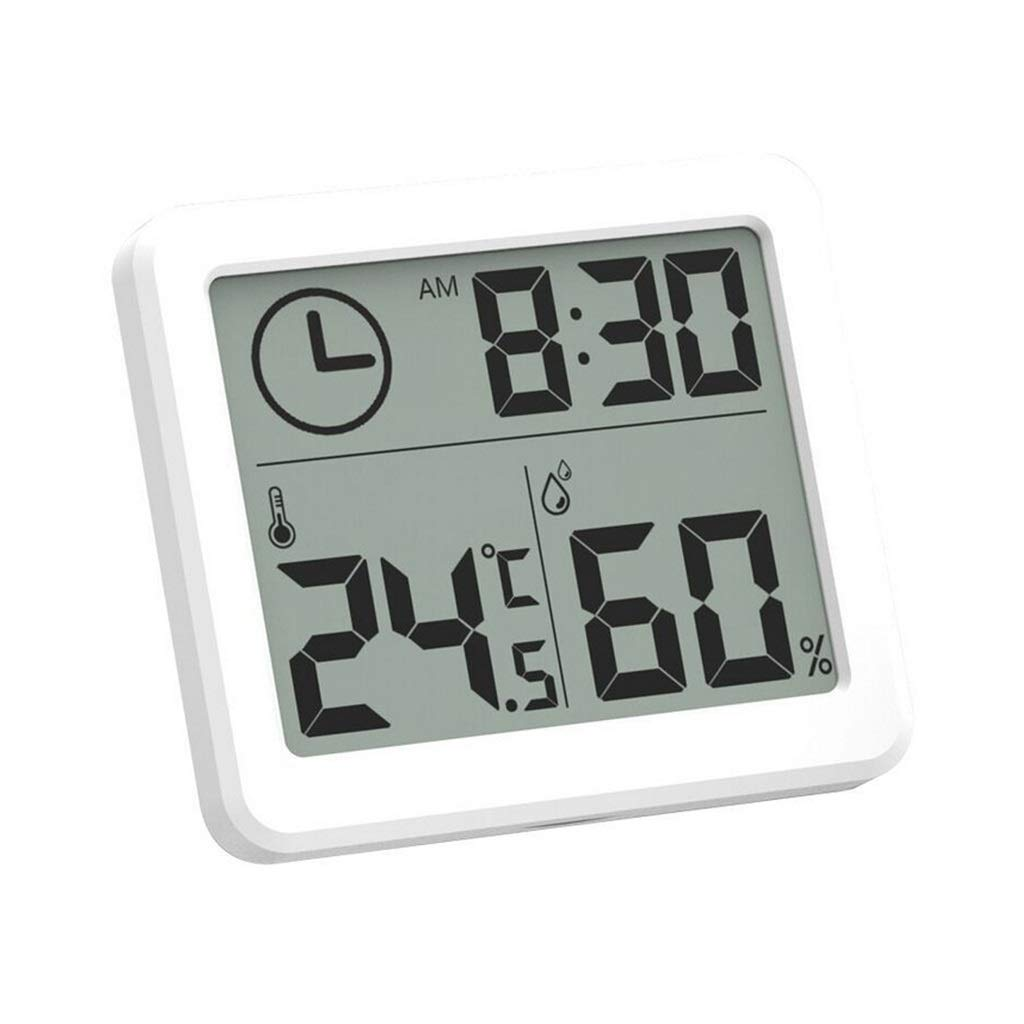 Smart Weather Clock Ultra-Thin Intelligent Electronic Digital Thermometer and Hygrometer Home Thermometer Indoor Weather Monitoring Clocks Precision (Color : White, Size : 8cm)