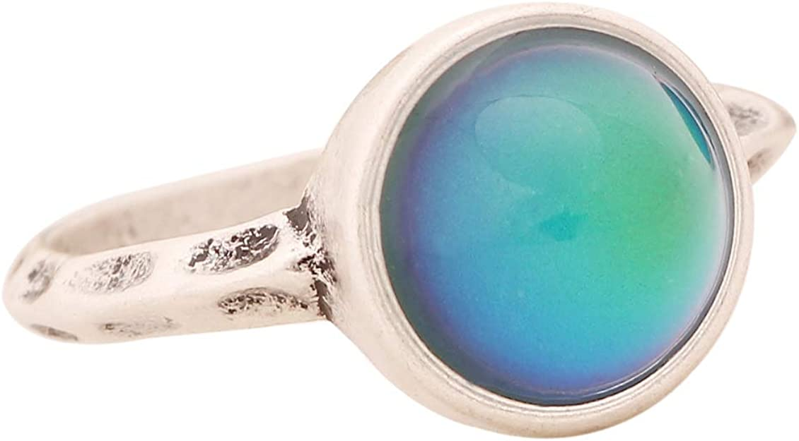 Adjustable Big Coffee Ring Zinc-Alloy Opal
