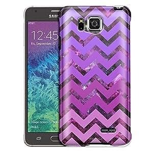 Samsung Galaxy Alpha Case, Slim Fit Snap On Cover by Trek Nebula on Chevron Pink Purple Case