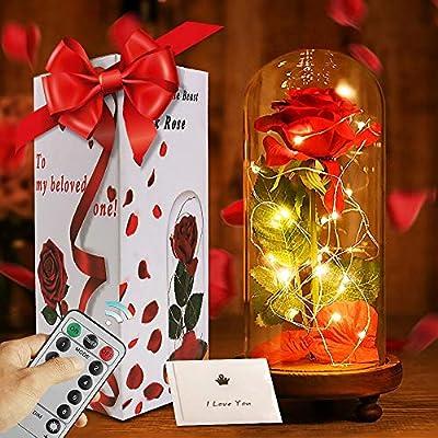 La Bella y la Bestia Rose Roja Kit Completo con Cúpula de Cristal Luz LED y Base de Madera Marrón Cubierta para la Decoración San Valentín Boda Fiesta ...
