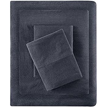 Cotton Blend Jersey Knit King Bed Sheets , Coastal Cotton Bed Sheet , Dark Grey Bed Sheet Set 4-Piece Include Flat Sheet , Fitted Sheet & 2 Pillowcases