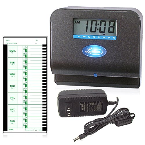 092447001900 - Lathem Tru-Align Thermal Print Time Clock, Automatic, Includes 25 E8 Time Cards, Gray (800P) carousel main 0