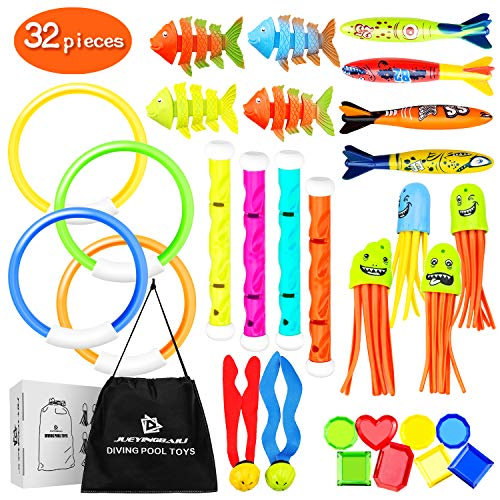 Kppalex Underwater Swim Pool Diving Toys - 30 Pcs Summer Swimming Dive Toy Sets - Water Rings,Sticks,Octopus,Torpedo Bandits,Fish & Balls for ()