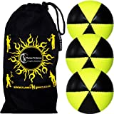 Flames N Games ASTRIX UV Thud Juggling Balls set of 3 (BLACK/YELLOW) Pro 6 Panel Leather Juggling Ball Set & Travel Bag!