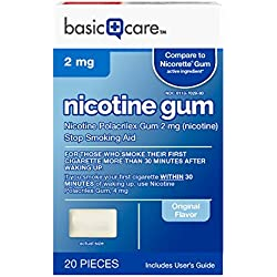 Basic Care Nicotine Gum 2mg, Stop Smoking Aid, Original, 20 Count