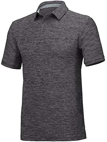 - Three Sixty Six Men's Dry Fit Polo Shirt, Athletic Short-Sleeve Collared Golf Shirt Black,Medium
