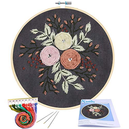 (Full Range of Embroidery Starter Kit with Pattern, Kissbuty Cross Stitch Kit Including Stamped Embroidery Cloth with Floral Pattern, Bamboo Embroidery Hoop, Color Threads and Tools Kit (Pretty Roses))