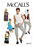 yoga sewing pattern - McCall's Pattern M7610 Y Misses' Pullover Tops with Back Variations and Pull-On Shorts and Pants with Elastic Waist, Size XS-M 7610