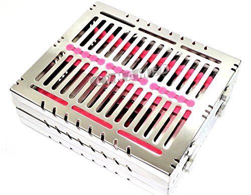 5 GERMAN DENTAL AUTOCLAVE STERILIZATION CASSETTE TRAY FOR 15 INSTRUMENTS 8.25X7.25X1.25'' PINK ( CYNAMED ) by CYNAMED (Image #2)