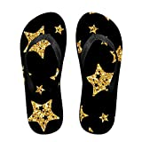 Unisex Summer Beach Slippers Black And Gold Stars Flip-Flop Flat Home Thong Sandal Shoes