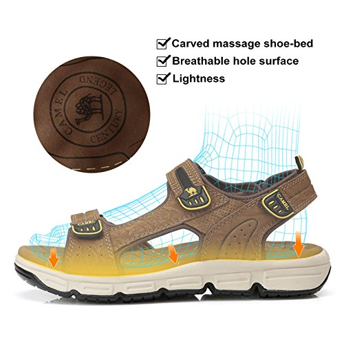 Mens Cowhide Leather Comfort Sport Sandals Outdoor Walking Sandals Beach Waterproof Strap Open Toe Shoes for Men,Dark Brown,250mm by Camel (Image #4)