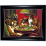 BLACK FRAMED 3D Picture of Dogs At Play, (Snooker & Poker, Various Breeds) 3D Lenticular Picture, 3 High Definition 3D Pictures in One (Black Framed 46x36cm) by OFA Products
