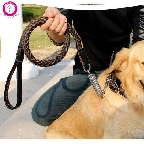 365Cor(TM) Genuine Leather Strong Large Dog Collar And Leash Set Outdoor Pet Training Walking Leads For Mastiff Pitbull