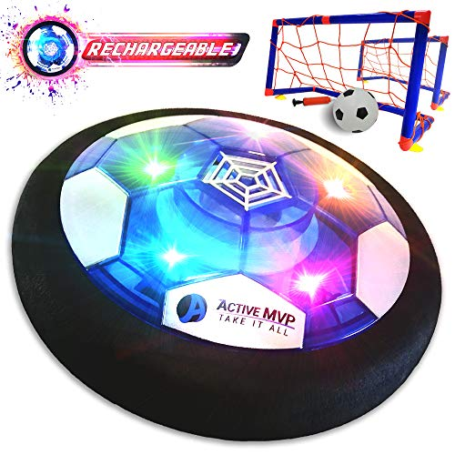 ActiveMVP Kids Toys USB Rechargeable Hover Soccer Ball Set with 2 Goals - Indoor Outdoor LED Light Fun Game - Strong Improved ABS Plastic Quality - No Battery Needed - Boys Girls Age 3 4 5 6 7 8 9 11+ ()