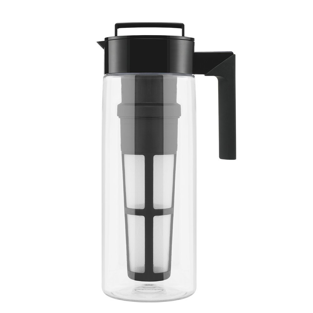 Takeya Iced Tea Maker with Patented Flash Chill Technology Made in USA, 2 Quart, Black (Renewed) by Takeya