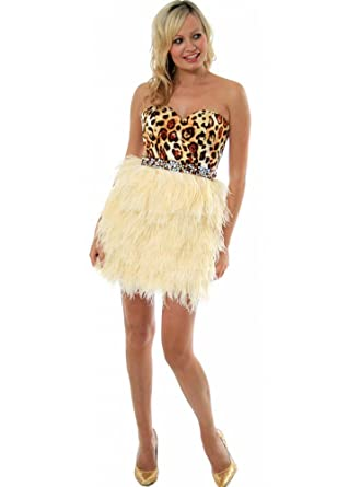Sherri Hill Dress Leopard Bustier Feather Prom - Style 2337 UK 14 Cream/Ivory
