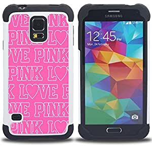 GIFT CHOICE / Defensor Cubierta de protección completa Flexible TPU Silicona + Duro PC Estuche protector Cáscara Funda Caso / Combo Case for Samsung Galaxy S5 V SM-G900 // pink love text white repetitive pattern //