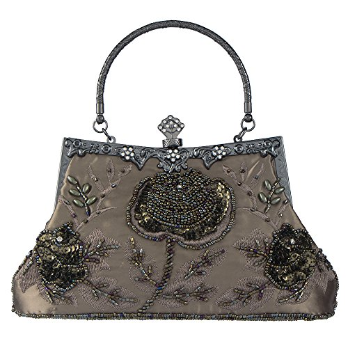 Lined Beaded Clutch - Bagood Women's Vintage Style Roses Beaded And Sequined Evening Bag Wedding Party Handbag Clutch Purse