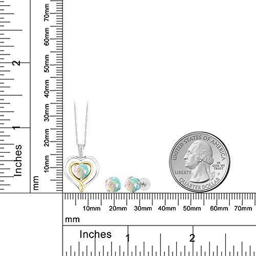 10K Two Tone Gold 2.01 Ct Cabochon Simulated Opal Diamond Pendant Earrings Set by Gem Stone King (Image #2)
