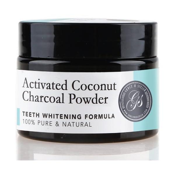 Polvo blanqueador de dientes de carbón activado (Gran 70 g, sabor a menta) 100% puro, natural y vegano | Blanqueamiento… 4