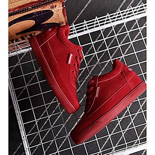 US7 Primavera Donna 5 Autunno Scarpe Rosso Comoda EU38 Punta Tonda Red Grigio Pelle Per CN38 Nubuck Zeppa Sneakers Rosa UK5 TTSHOES 5 qgwaxX5
