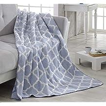 "Ottomanson Bed Blankets, Bedspread, Plush Cotton Throw, Soft Cotton Cozy Trellis Design Fleece Blanket, 50"" L x 65'' W, Waffle Light Blue"