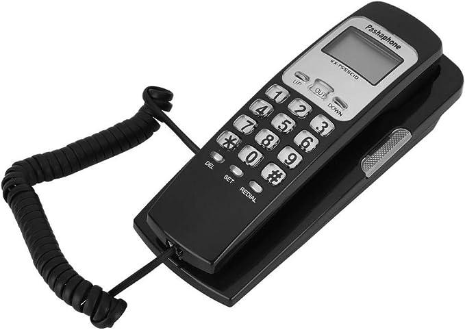 ASHATA Teléfono con Cable montado en la Pared, teléfonos fijos con Pantalla LCD Mes Día Hora y Pantalla de Minutos, Soporte FSK y DTMF Pantalla de número de Llamada de Sistema Dual(Negro