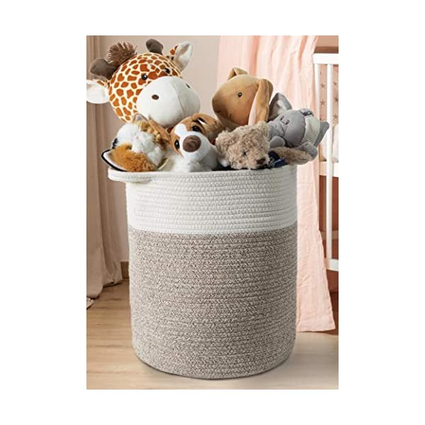 IndigoBea Cotton Rope Storage Basket -17″H x 15″D Extra Large Tall Laundry Clothes Hamper with Handles – Decorative Woven Basket -Designed for Kids Toys, Blanket, Nursery, Dorm, Bedroom, Living Room